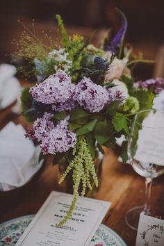 purple floral arrangement // photo by Chellise Michael // http://ruffledblog.com/elegant-brooklyn-winery-wedding