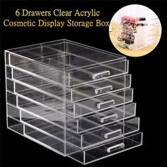 88.95$  Watch here - http://alimvr.worldwells.pw/go.php?t=32754160026 - Large 6 Drawers Transparent Acrylic Storage Case Drawer Insert Cosmetic Nail Brush Jewelry Display Makeup Organizer Box 88.95$