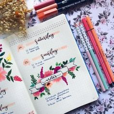 Creative Organization: Bullet Journal Floral Weekly Spread. Bujo weeklies Planner inspiration Bullet Journal art journal ideas #bujoideas #bulletjournal