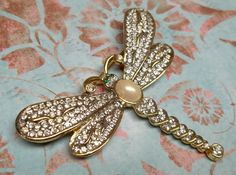 Vintage dragonfly brooch white faux pearl by recupefashionnstuff, $20.00