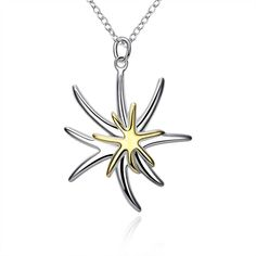 P026 wholesale silver fine golden starfish pendant necklace fashion party jewelry pretty cute Christmas gift