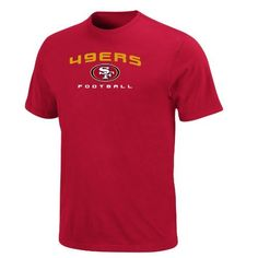 NFL Mens San Francisco 49ers Line Of Scrimmage V Short Sleeve Crew Neck Tee (Bright Cardinal, X-Large) by Majestic. $27.95. Ribbed Neck Band. Straight Bottom Hem. 100% Cotton Jersey. Pakistan. Cotton 60%/Polyesther 40%. No Fancy Moves Here. The Line Of Scrimmage V Short Sleeve Top Is A Classic Nfl Shirt For A Classic Nfl Fan. Short Sleeve Crew Neck Jersey Tee Provides A Comfortable Fit, While The Embroidered Team Name And Logo Let The Stands Know Who You Are Rooting For.