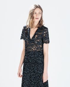 Image 1 of POLO COLLAR LACE TOP from Zara