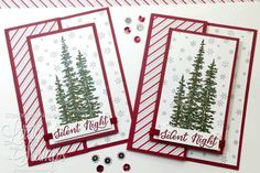 hand crafted Christmas card ... tall trees ... snow flakes ... striped paper ... fun fold ... Stampin' Up!