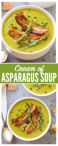The BEST Healthy Cream of Asparagus Soup! This rich, velvety soup tastes like the Pioneer Woman's but is made without cream! Quick, easy recipe that's perfect for spring. Top with bacon or omit to make the asparagus soup vegan {gluten free; Asparagus Soup Vegan, Creamed Asparagus, Asparagus Recipe, Best Cream Of Asparagus Soup Recipe, Healthy Soup Recipes, Easy Dinner Recipes, Quick Easy Meals, New Recipes, Cooking Recipes
