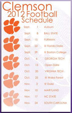 Clemson 2012 Football Schedule - Go Tigers!!