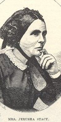Jerusha Tanner Stacy (1800-1877). Cooperstown, Otsego County, New York. Married Peletiah Stacy in 1819 at age 18. Together the couple had 12 children, including two sons, Erastus and Edson, who served in the Civil War. Edson died in that conflict. Buried in the Old De Kalb Cemetery in De Kalb, New York.