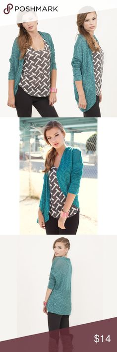 "Circle Around Cardi Soft and slinky teal cardigan featuring circle hem and marbled print.  Materials: 60% Rayon, 35% Polyester, 5% Spandex Approx. Measurements (size S): 29"" top to hem Fit: Runs true to size Sweet Claire Sweaters Cardigans"