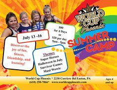 Looking for Summer Fun?Give your kids the opportunity to try something new!Discover the joy of fun, fitness, friendship, and learning at World Cup.Open to the public - get your friends together and plan a great week!July 13-16$80 for 4 daysor$20 per daywith online Parent Portal registration and paymentwww.iclassprov2.com/icpv2/parentportal/worldcupphoenixCash or check accepted at the door on the day of the camp for the walk in rate of $259-5 pmThe day camp at Wo