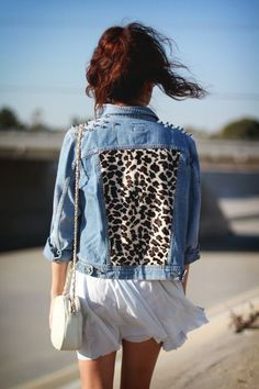denim & animal print <3 I could do without the spikes, but love this and other fabrications for the center back panel.