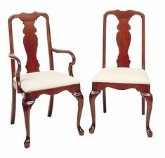 Cherry Queen Anne Dining Chairs by Colonial Furniture Queen Chair, Rocker Recliner Chair, Cherry Furniture, Cane Back Chairs, Toddler Table And Chairs, Dining Chairs, Dining Room, Colonial Furniture, Cool Chairs