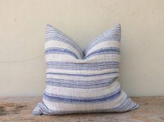 Navy Stripe Pillow Case Nature Hemp Hand Woven by orientaltribe11