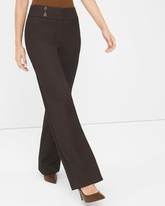 """Experience the wide-leg trend the White House Black Market way. As a chic nod to '70s glamour, we highly suggest wearing this pair with our whisky-colored suede jacket.    Curvy wide-leg pants    Curvier fit through the hip and thigh   Polyester/rayon. Machine wash, cold.     Approx. inseams: 30.5"""" short, 33"""" regular, 35"""" long    Imported"""