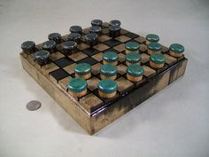 Bottle cap checkers set 2 with solid Ash wood board by OldeWorldCC