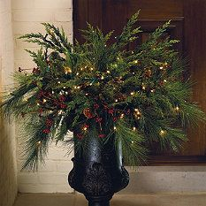 Christmas Urn, piece of cake. I love making outside things especially this time of year.  My window boxes have evergreen in them now:)