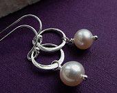 Pearl Earrings, Delicate Freshwater Pearl dangle earrings, small hoops, sterling silver pearl earrings, karma circle earrings