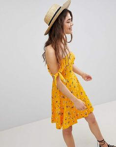 Love this cute summer dress. ASOS Mini Bandeau Skater Sundress in Floral Print, summer outfit, #ad #affiliate