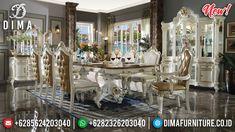 New Desain Meja Makan Mewah Crown White Duco Luxury Mebel Jepara Terbaru TTJ-0968