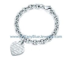 Tiffany Notes Heart Tag Charm Silver Bracelet