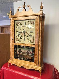 Tiger Maple Pillar and Scroll Clock :