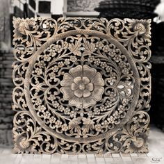 Decorative Wood Wall Panel. Traditional Floral Wood Carved Wall Hanging from Thailand 300x300 - Thai Motif Floral Carved Wood Wall Hanging