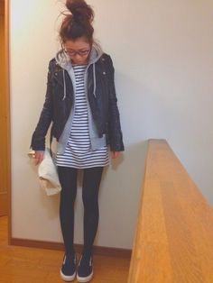 ntk.❁さんのライダースジャケット「Ungrid 」を使ったコーディネート - casual but edgy outfit for spring or fall - with items from Ungrid, Zara, Uniqlo, Todayful and Vans.
