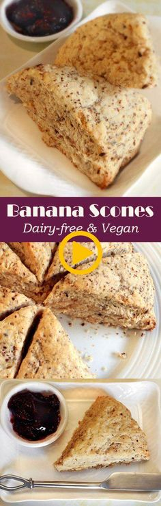 Dairy-free & Vegan Banana Scones - came out pretty good. Next time adjust the baking powder up a little (from 3 tsp) and chill the coconut oil beforehand, assembling like regular scones. Vegan Treats, Vegan Foods, Vegan Snacks, Vegan Desserts, Dessert Recipes, Paleo Diet, Party Desserts, Paleo Dessert, Cookies Vegan