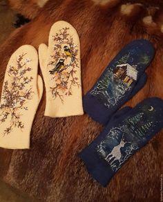"""Купить Варежки валяные """"Серебрянное копытце"""" - синий, рисунок, варежки, валяные варежки, варежки из войлока"""