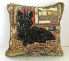 Needlepoint Rope Trim Pillow 14 inch Scottie Scottish Terrier Dog Library   eBay