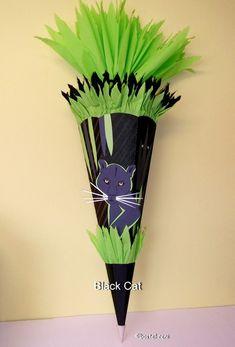 Bastelset Schultüte Zuckertüte Panther von bastel-reni auf DaWanda.com Der Panther, School Kids, Black, Nappy Cake, Back To School, Entering School, Cats, Day Care, Kindergarten