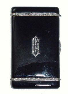 Art Deco Diamond Enamel Cigarette Case
