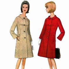 McCalls 8006 1960s Misses Princess Seam COAT Pattern designer Originala womens vintage sewing pattern by mbchills