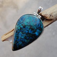 "2.36"" CHRYSOCOLLA Pendant 925 Sterling Silver 23 gm Handmade Jewelry -stone of prosperity and peacefulness SALE!! QJ-125"
