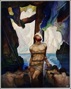 Ulysses and the Sirens. 1929. N.C Wyeth. American.1882-1945. oil on canvas.