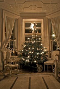 we used to do this, turn all the room lights off and have the Christmas tree lights as the only lights on, it created such a soft, warm light....sigh..