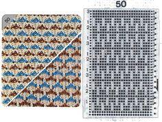 Узор 50 - Многоцветный прессовый узор и перфокарта для вязальной машины Brother