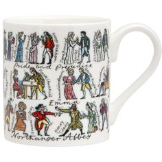 Jane Austen Mug - Jane Austens characters are humorously depicted on this mug Lydia Bennet is chatting up Wickham as Jane and Elizabeth