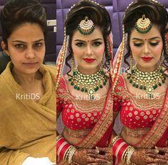 Indian bridal hair style tutorial eye makeup new ideas Indian Bridal Photos, Indian Bridal Outfits, Indian Bridal Hairstyles, Indian Wedding Makeup, Bridal Eye Makeup, Hair Makeup, Beautiful Bridal Makeup, Boho Headpiece, Bridal Makeover