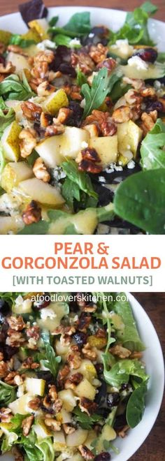 Pear and gorgonzola salad with toasted walnuts and arugula makes the perfect sal. Pear and gorgonzola salad with toasted walnuts and arugula makes the perfect salad for entertaining Best Salad Recipes, Vegetarian Recipes, Cooking Recipes, Healthy Recipes, Pear Recipes, Green Salad Recipes, Delicious Salad Recipes, Arugula Salad Recipes, Healthy Dishes