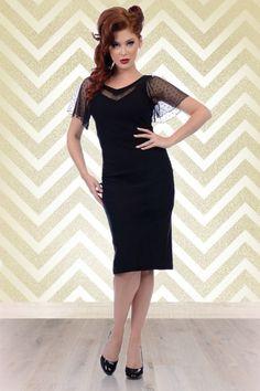 50s Jessie Pencil Dress in Black - Steady Clothing