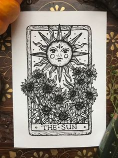 The awakening mind. It's not about the destination, it's about the journey in this moment. Sun And Moon Tarot, The Sun Tarot Card, Sun Moon, Sun Drawing, Card Drawing, Wm Logo, Tarot Card Tattoo, Tarot Card Art, Sun Art