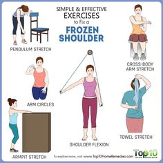 Simple and Effective Exercises to Fix a Frozen Shoulder! Frozen shoulder, also known as adhesive capsulitis, is a condition characterized by stiffness and pain in your shoulder joint. It occurs when the fibers in the capsule or group of connective … Read Frozen Shoulder Exercises, Shoulder Rehab Exercises, Shoulder Stretches, Shoulder Workout, Shoulder Exercises Physical Therapy, Frozen Shoulder Treatment, Rotator Cuff Exercises, Scapula Exercises, Shoulder Pain Relief