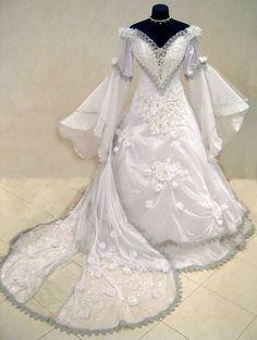 SILVER MEDIEVAL WEDDING DRESS VICTORIAN GOTH LARP M-L-XXL 12-14-16-18 WICCA ROBE