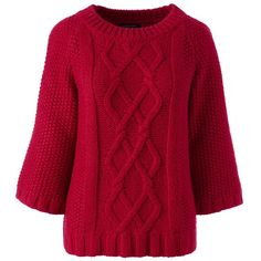 Lands' End Women's Petite Wool Blend 3/4 Sleeve Sweater - Aran ($99) ❤ liked on Polyvore featuring tops, sweaters, jumper, shirts, red, petite sweaters, fisherman sweater, three quarter sleeve shirts, chunky cable knit sweater and cable-knit sweater