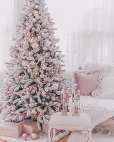 Couture Rose Gold & Blush Christmas Tree Decoration Details Hi Coutures! Here's my holiday shopping details post – as promised! Now I literally just setup the tree a few days ago and we're still making changes and have much more holiday couture decor… Rose Gold Christmas Tree, Rose Gold Christmas Decorations, Beautiful Christmas Trees, Christmas Room, Noel Christmas, Flocked Christmas Trees Decorated, Christmas Tree Goals, Themed Christmas Trees, Champagne Christmas Tree