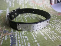 Custom Hand Stamped Leather Dog Collar Size by LaurenElaineDesigns, $19.95