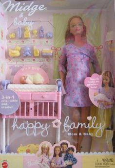 Barbie Happy Family Midge & Baby Doll Set - Pregnant Mom & Baby Doll (2002) by Mattel. $105.00