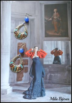 Earrings with colored strass