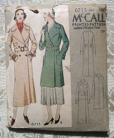 Vintage 30s Belted Trench Coat.  McCall door sewvintagefashion