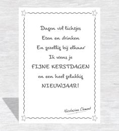 Christmas Card Sayings, Christmas Cards, Christmas Decorations, Merry Christmas And Happy New Year, Christmas Time, Xmas Wishes, A Little Party, Dutch Quotes, New Year 2018